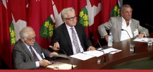 MPP Michael Colle introduces Bill 162 (L-R: Morris Adams, MPP Colle, Leonard H. Goodman)